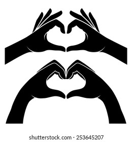 Two black silhouette hands form a heart shape