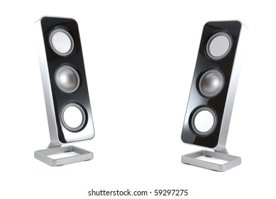 Two black and silver modern speakers tilted towards each other on a white isolated background