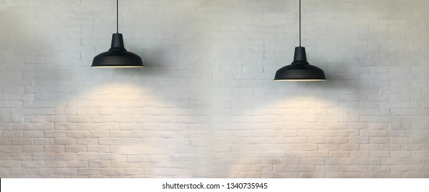 Two black vintage fixtures lamp of interior design at coffee corner and have white brick wall background.