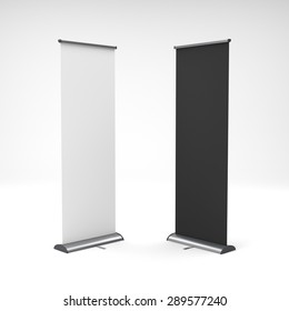 two black and white rollups or banners on light background