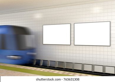 Two blank advertising posters on subway station with train. 3d illustration