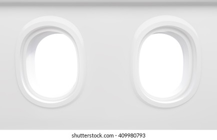 Two blank airplane illuminators. Mock up, 3D Rendering