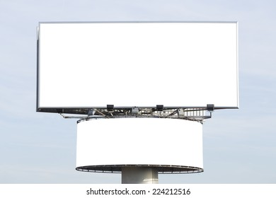 Two blank billboards over a blue sky