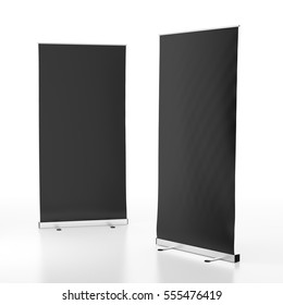 Two blank black roll-up banners stand isolated on white background. Include clipping paths around stand and display banner. 3d render
