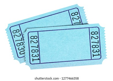 Two blank blue tickets isolated on white
