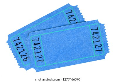 Two blank blue tickets isolated