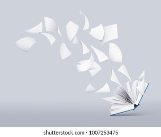 two blank books with flying pages
