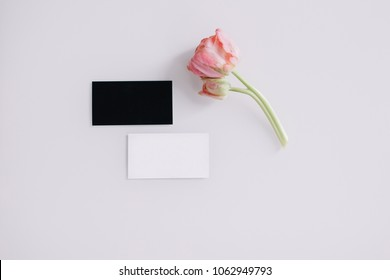 Two blank business card mockups on white background.  Black and white namecard design mock up presentation. Flowers and business card mockups