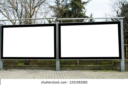 Two blank frame billboard mockup