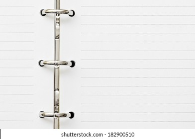 two blank page on diary with metal ring