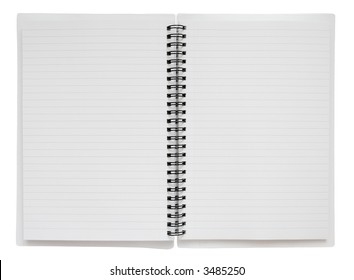 Two blank pages in a spiral bound notebook, with clipping path.
