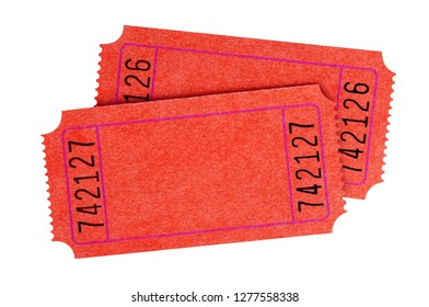 Two blank red movie tickets isolated