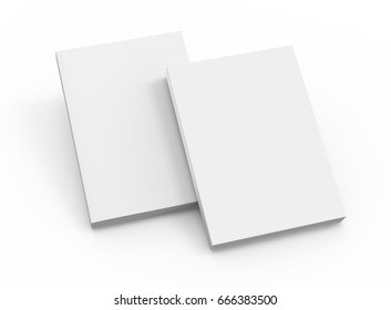 two blank right tilt 3d rendering white books placed on ground, isolated white background, top view