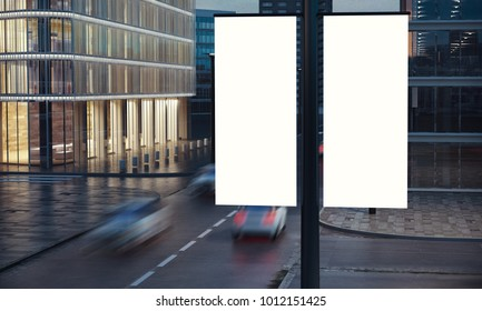 two blank signs on the post at city night 3d rendering