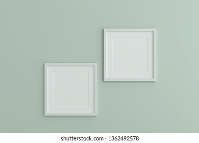Two blank white picture frame template for place image or text inside on the wall.