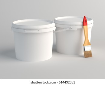Two Blank White Plastic Buckets. 3D Render