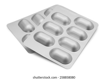 Two Blister Packets of Pills isolated on white background with clipping path