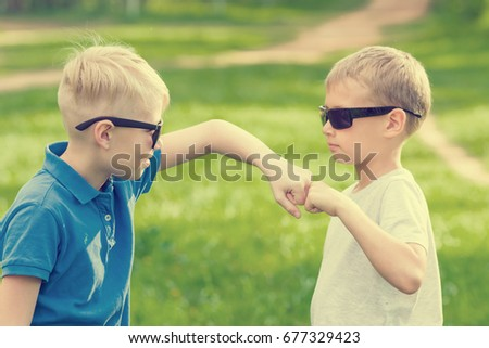 97ad9344c032 Two Blond Boys Sunglasses Banging Their Stock Photo (Edit Now ...
