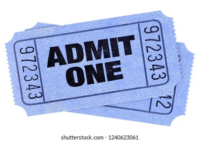 Two blue admit one movie tickets stubs