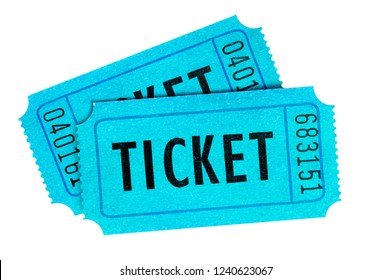 Two blue cinema tickets isolated white