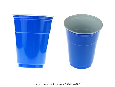 Two blue cups.