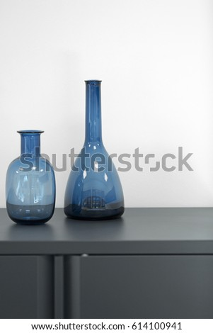 Two Blue Decorative Vases On Office Stock Photo Edit Now 614100941