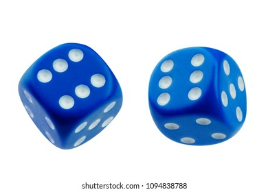 Two blue dice rolling isolated on white