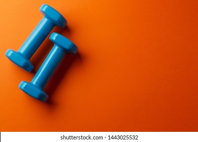 Two blue dumbbells for a girl on an orange background, top view