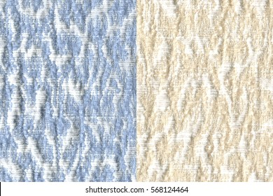 two blue and ivory color jacquard woven fabric textures for background.