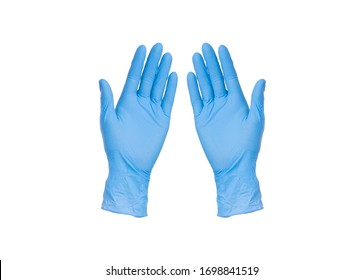 Two blue nitrile medical gloves isolated on white background with no hands