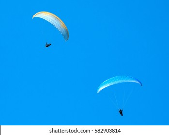 Two blue paragliders flying in the blue sky. Paragliding in the sky on a sunny day.