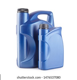 two blue plastic canister for lubricants without label, container for chemicals isolated on white