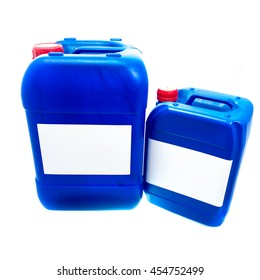 Two blue plastic canisters, containers with label; your text here; isolated on white background