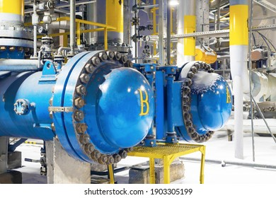 two blue process filters purify the gas from mechanical impurities