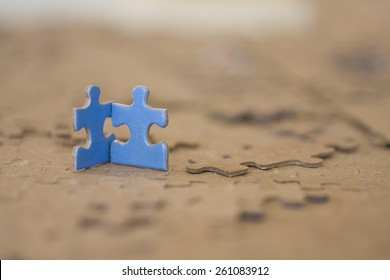 Two Blue Puzzle Pieces