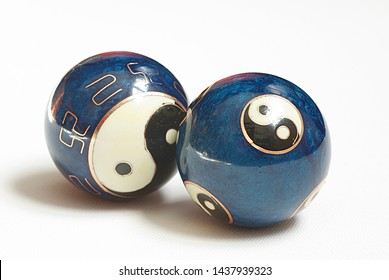 Two blue qigong balls, alternative therapy