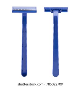 Two of blue razor isolated on white background
