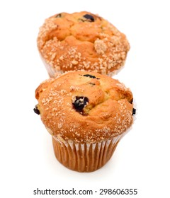 two blueberry muffins on white background