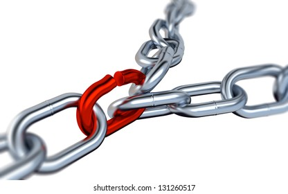 Two Blurred Metallic Chains with One Red Link on a White Background