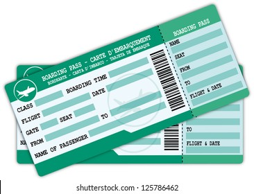 Two boarding passes. Green and blue flight coupons illustration.