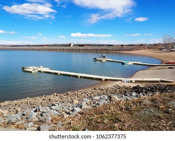 Two boat docks at the Boulder Reservoir in Boulder Colorado