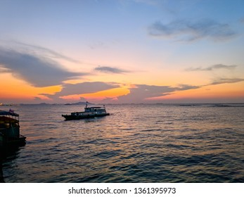 Two boats in the sea with subset background