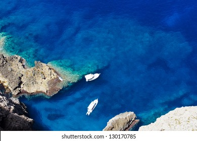 Two boats in a wonderful bay in Mediterranean Sea