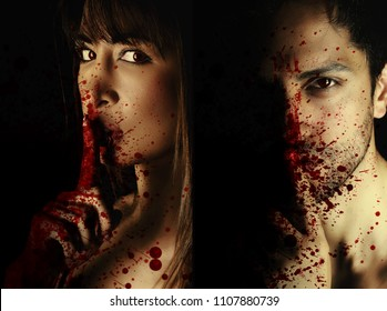 two book covers for vampire novel .one man and one woman vampire