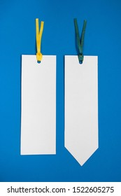 Two bookmarks on a blue background