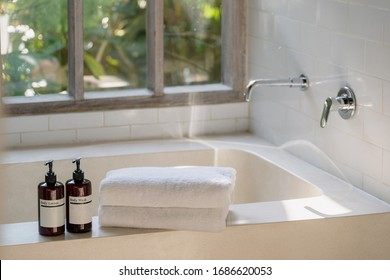 Two bottle of body wash lotion and shower gel on top of white ceramic bathtub in bright bathroom against window with natural plants