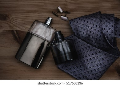 two bottle of perfume with tie