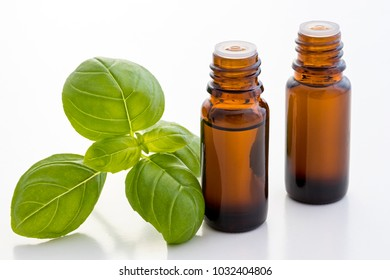 Two bottles of basil essential oil with fresh basil leaves on a white background