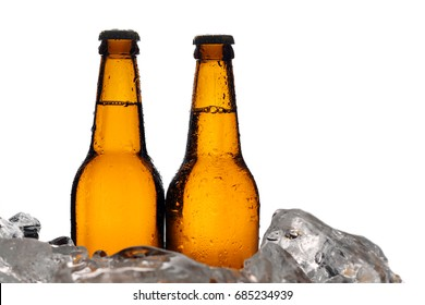 Two bottles of beer. Close up. White background
