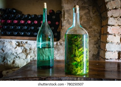 Two bottles of chacha. One with herbal mint. Georgia